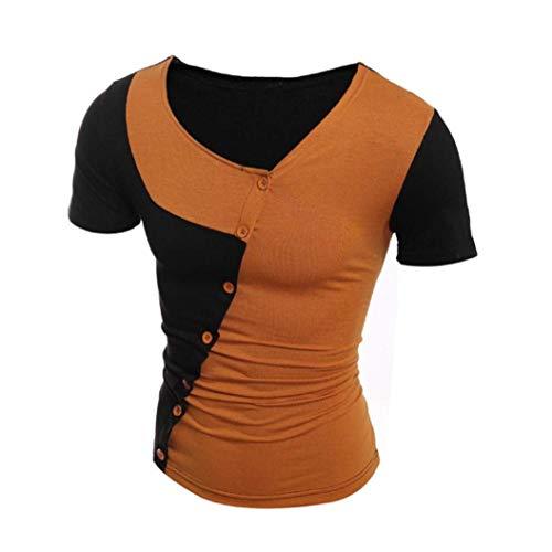 De Corta Verano Braun Moda Camiseta Redondo Tops Cuello Pullover Acogedoras Manga Camisas Cómodos Ropa Para Con Hombres Empalme Tamaños dF8qwxgqE