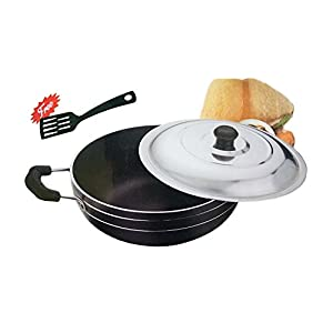 Special valentine day gift, Aluminium Non-Stick Deep Kadhai With Lid,Free Scrubber & Pastic Paddle, Strong Stainless Steel Handle, Black Color Size 8.9 X 8.9 Inch
