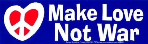 Peace//Anti-War Bumper Sticker//Decal Make Love Not War 8.25 X 2.5