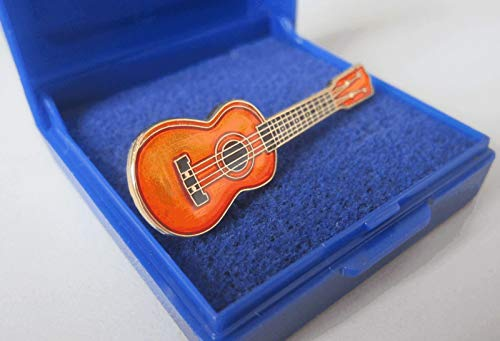Gold Plated Cloisonne Ukulele Pin Badge - Gift Boxed