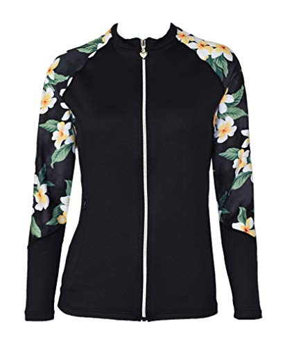 - Private Island Hawaii Women UV Wetsuits Long Raglan Sleeve Rash Guard Top Zipper Jacket Pocket Outdoor/Yoga (Large, BHBP)
