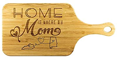 Cutting Boards For Kitchen Bamboo - Home Is Where My Mom Is Kentucky State KY And Alabama State AL - Funny Long Distance Relationship Mom Gifts From Daughter Mother Day