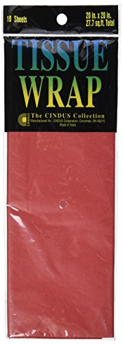 Cindus Tissue Wrap, 20 by 20-Inch, Flame Red 10/Pkg
