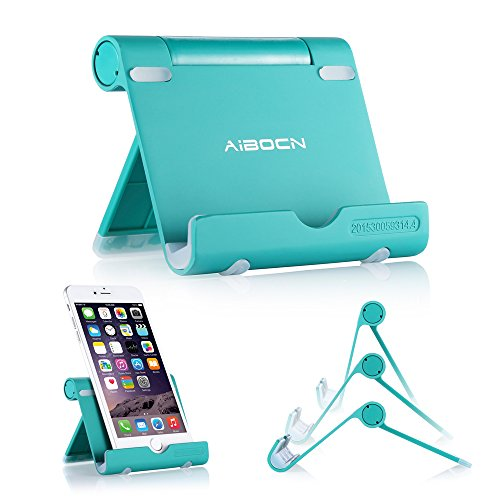 Aibocn Multi-Angle Cell Phone Stand for Tablets Smartphones and E-Readers Compatible with iPhone iPad Air iPod Samsung Galaxy/Tab HTC Google Nexus LG OnePlus and More, Green