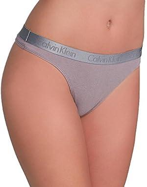 Calvin Klein Underwear Women's Radiant Cotton Thong, Grey Sand, Small