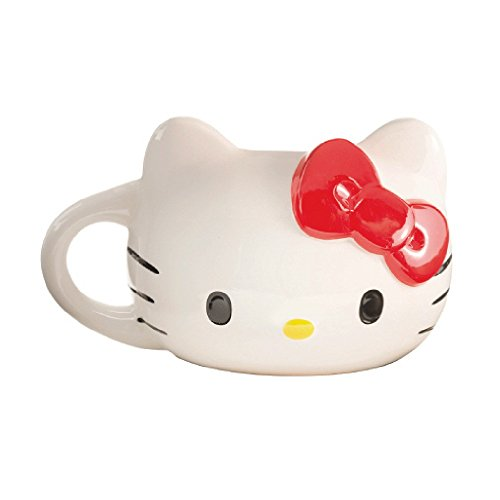 Hello Kitty Sculpted Ceramic Coffee Mug 18 oz. Cat Red Bow Gift