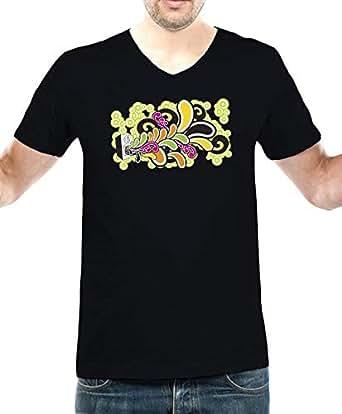 IngraveIT Black Cotton V Neck T-Shirt For Men