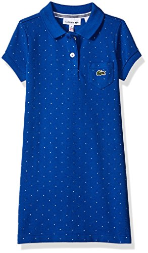 Lacoste Little Girls' Short Sleeve Classic Pique Polo Dress with Pocket, Equestrian Blue, ()