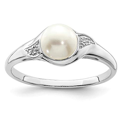 (FB Jewels Solid Sterling Silver Rhodium Plated Diamond And Fw Cultured Pearl Ring Size 8)