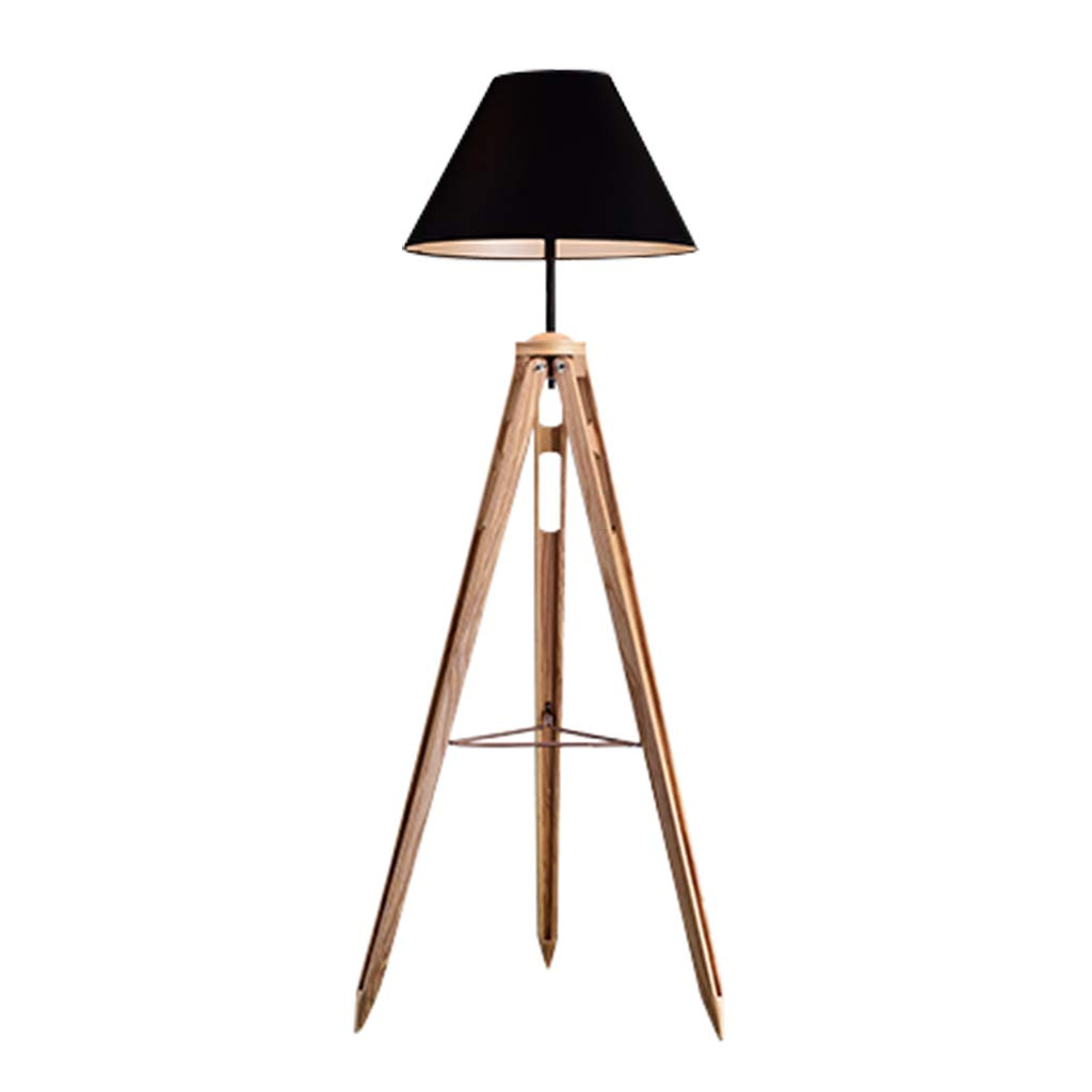Hwhchフロアランプ ロフト工業用ウッドフロアランプ|レトロフロアランプ|リビングルームベッドルームスタディルーム (色 : Black lampshade) B07RGMLZFB Black lampshade