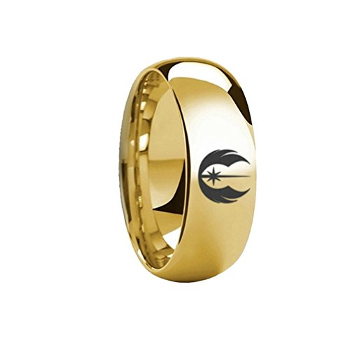 Thorsten Star Wars Jedi Order Symbol Design Ring Polished Gold Plated Tungsten Domed Style Wedding Band 6mm Wide from Roy Rose Jewelry