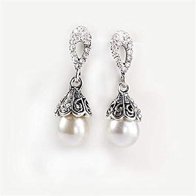 3d39dca1959e EHES Señoras De La Manera Pendientes Vintage Perlas De Plata Antiguas  Diamantes Pendientes Hipoalergénico Joyas Salvajes