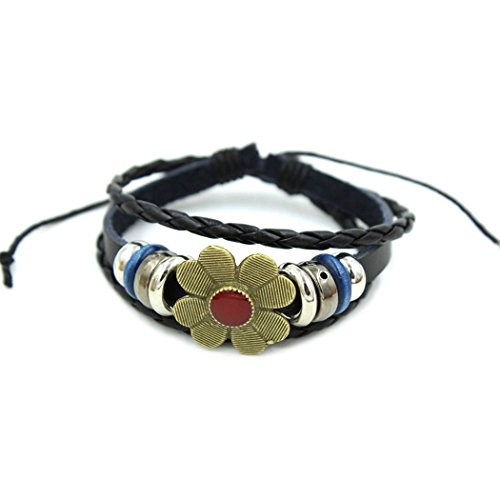 Price comparison product image November's Chopin (TM) Vintage Metal Clover Flower Charms Braided Leather Bracelet
