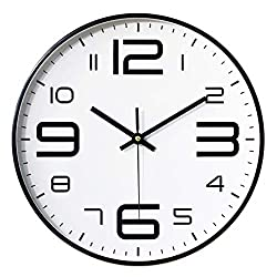 Foxtop 12 inch Silent Non-Ticking Quartz Decorative Wall Clock Battery Operated with Arabic Numbers Display Black Frame White Dial