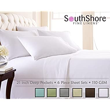 Southshore Fine Linens® 6 Piece - Extra Deep Pocket Sheet Set - WHITE - King