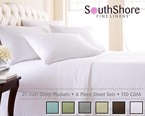 Southshore Fine Linens 6 Piece - Extra Deep Pocket Sheet Set - White - California ()