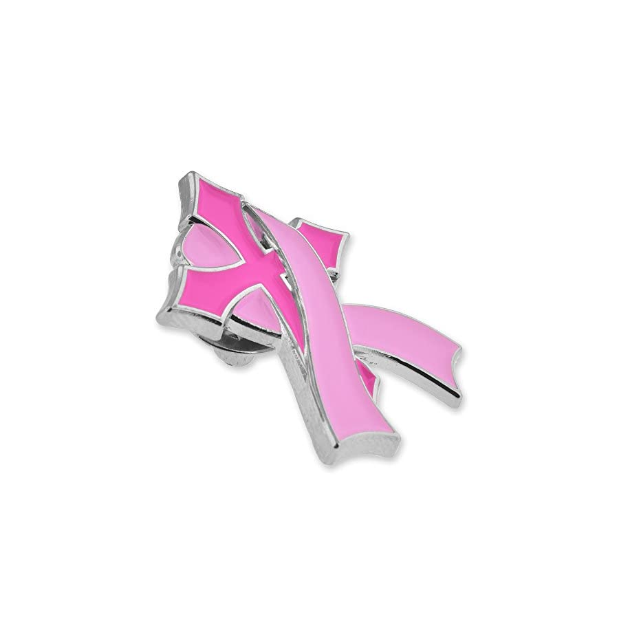 PinMart Pink Breast Cancer Awareness Religious Cross with Ribbon Enamel Lapel Pin