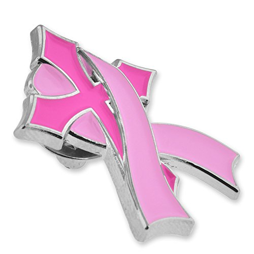 PinMart's Pink Breast Cancer Awareness Religious Cross with Ribbon Enamel Lapel Pin