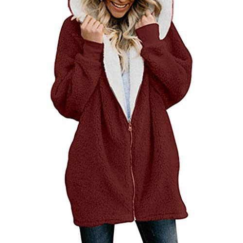 XOWRTE Women's Solid Oversized Zip Down Hooded Fluffy Coat with Pocket Cardigan Overcoat Outwear