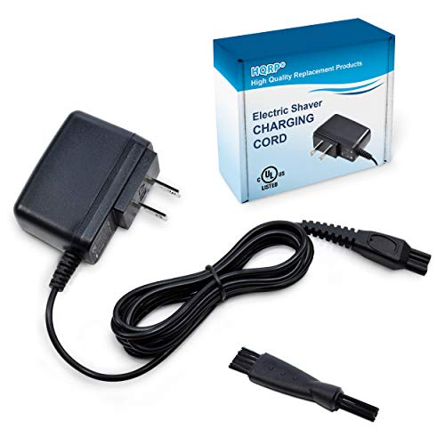 HQRP 15V Charger for Philips Norelco HQ8505 7000 5000 3000 Series, 6709X 6716X 6735X 6737X 6828XL 6829XL RQ1280 RQ1260, Aquatech Powertouch AT880, UL Listed AC Adapter Power Cord Shaver + Brush