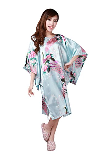 JTC Women's Kimono Robe Silk Dress Pajama Sleepwear 8 Colors (Light Green) by Jtc