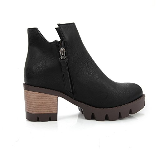 Boots Wheeled Shoes Black AdeeSu Platform Girls Business Imitated Heel Leather pwqf8qS