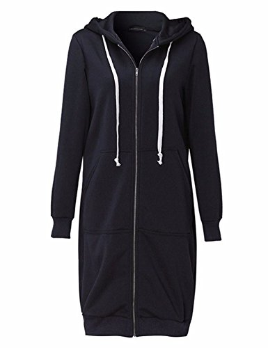 sual Loose Zip up Long Hoodies Sweatshirt Outerwear Jacket Tunic Coat with Pockets(BL,L) ()