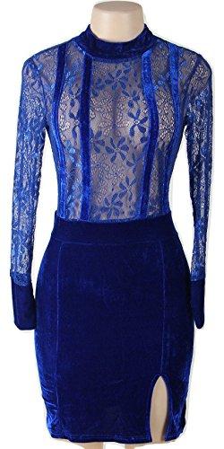 Nuevo Azul Terciopelo y encaje manga larga Bodycon Mini vestido de fiesta noche cóctel club vestido