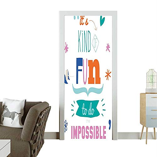 Door Sticker Wall Decals Kind Fun to Do Motivati al sage Quote SUCC Image Multicolor Easy to Peel and StickW35.4 x H78.7 INCH (Sage Pizza Peel)