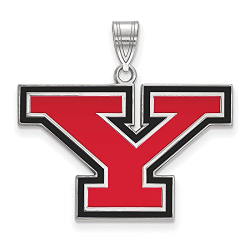 925 Sterling Silver Rhodium-plated Laser-cut Youngstown State University Large Enameled Pendant