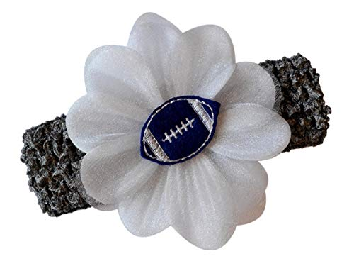 Baby Girl Dallas Cowboys (Baby Embroidered Felt Football Team Flower Headband Fits Newborns to Toddlers (Silver Gray Band/Royal Blue)