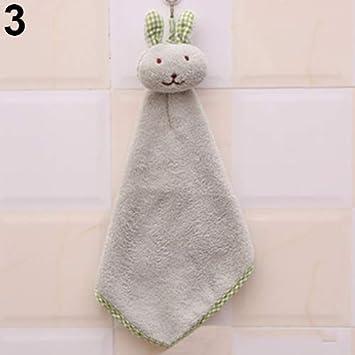Jhtceu - Toalla de Mano para bebé, diseño de Conejo de Animales, de Felpa, para Colgar en el baño: Amazon.es: Hogar
