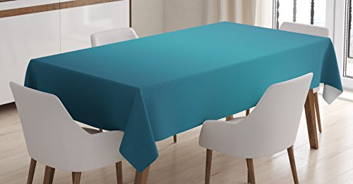 - Ambesonne Ombre Tablecloth, Deep Blue Tropical Ocean Exotic Lands Inspired Design Modern Digital Print, Dining Room Kitchen Rectangular Table Cover, 52 W X 70 L inches, Petrol Blue