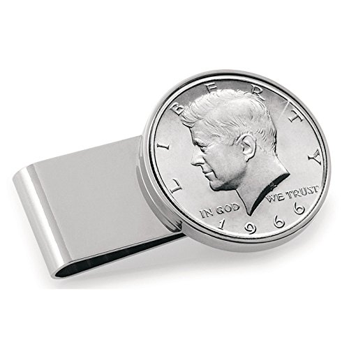 Coin Money Clip - JFK Half Dollar | Stainless Steel Moneyclip Layered in Silver-Tone Rhodium | Holds Currency, Credit Cards, Cash | Genuine U.S. Coin | Includes a Certificate of Authenticity ()