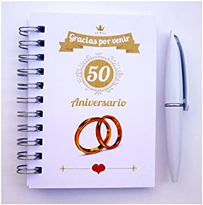 Recuerdos y Detalles Boda de Oro Para Invitados - Elegantes - Pack 15 Libretas con mini Bolígrafo - ¡Sorprenderéis a Todos Los Invitados!: Amazon.es: Hogar