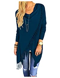 CutyKids Women's Casual Long Sleeve Tassel Hem Crewneck Knitted Cardigans
