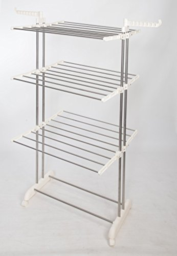 idee Freestanding Collapsible Height-Adjustable-Rack Rolling 3-Tier Clothes (Laundry) Drying Rack with Durable Stainless-Steel Hanging Rods for Indoor or Outdoor, PDR22LG, Ivory