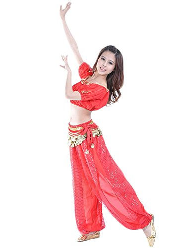 Ideas For Bollywood Dance Costumes (AvaCostume Belly Dance Costume Tribal Top and Sparkling Harem Pants, Red, 3 Piece)