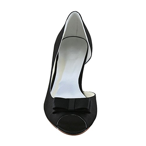 JIA JIA Women's Bridal Shoes Open Toe Low Heel Satin Pumps With Bowknot Wedding Shoes Black 8KnsGk
