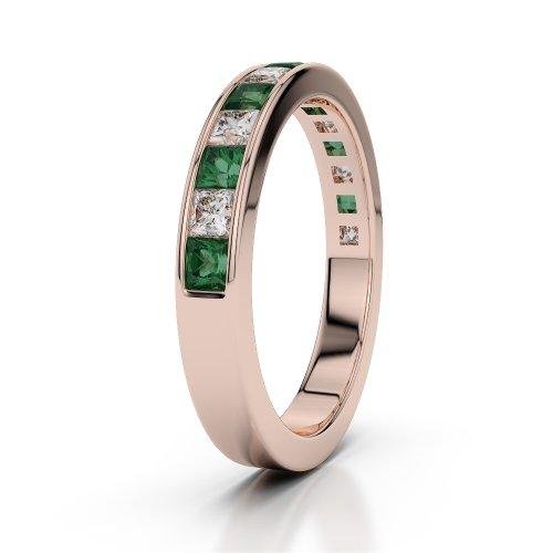 Or Rose 18carats 0,98CT G-H/VS Certifié Coupe ronde Émeraude et diamants Agdr-1136