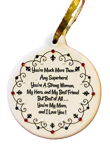 Laurie G Creations Strong Woman Hero Best Friend Mom Porcelain Christmas Ornament Rhinestone Crystal Accent