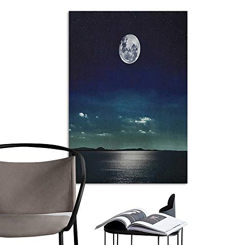 Canvas Wall Art Ocean Full Moon Reflected in The Sea Moon Rays Surface Starry Sky Night Scenic View Print Black Navy for Kids Rooms Boy Room W16 x H20]()