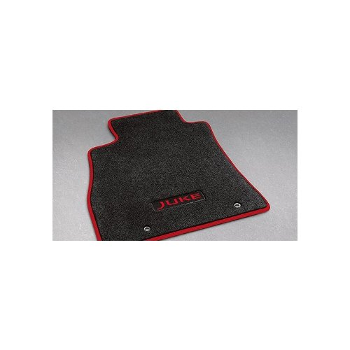 (11-15 Nissan Juke Red Accent Piping Black Carpeted Front & Rear Floor Mats OEM 999E2-6X001)