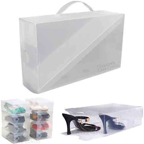 4 x Unisex caja de zapatos de almacenamiento pantalla organizador de zapatos para armario separadores transparente plástico transparente: Amazon.es: Hogar