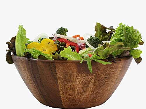 Large Wooden Premium Acacia Wood Salad Bowl 12 inches ()