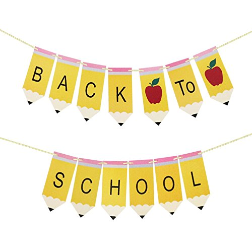 Back to School Pencil Banner - Back to School Banner - Classroom Decor - Teacher Gift - First Day of School Decorations, Welcome Back to School Party Decorations]()
