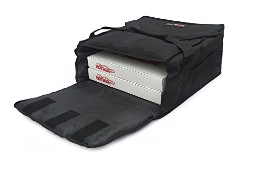 Pizza Delivery Box (Black Polyester Insulated Pizza / Food Delivery Bag 12″ - 14″- Professional Pizza Delivery Bag- Moisture Free- Holds Multi Pizza Boxes- Commercial Pizza Bags. (12-14, black))
