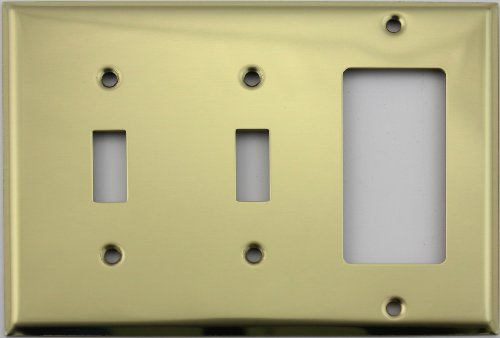 - Polished Brass Three Gang Wall Plate - Two Toggle Switches One GFI/Rocker Opening