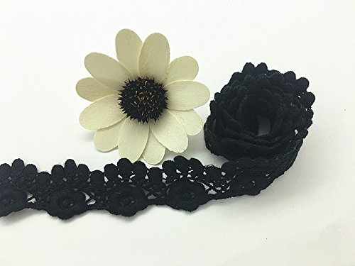 2.5CM Width Europe Virginia creeper trims pattern Inelastic Embroidery Trims,Curtain Tablecloth Slipcover Bridal DIY Clothing/Accessories.(4 yards in one package) (Black)