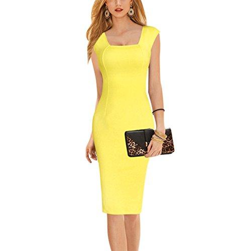 Damen Sommer Elegant knielang Business Party Kleid Ballkleid kurz ...